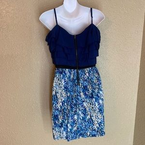 blue flowered zip up dress